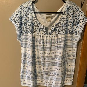 Lucky Brand Embroidered Blue Tunic Top-Lg